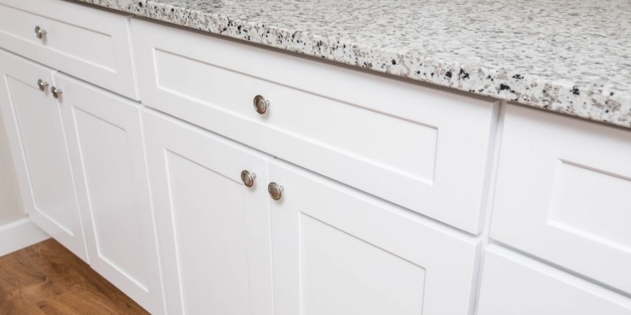 simple transitional white kitchen cabinets