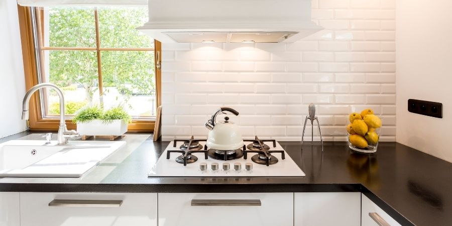 solid-surface black and white kitchen countertops
