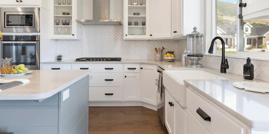 white farmhouse shaker-style cabinets