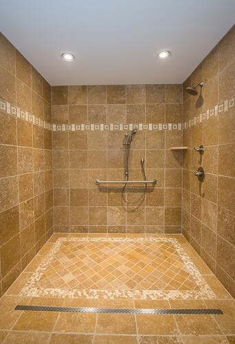 After: Accessible roll-in shower.