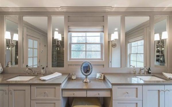 Master bedroom bathroom remodeling ideas - built-in makeup counter