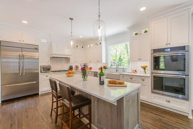 Kitchen with island and stools in New Jersey
