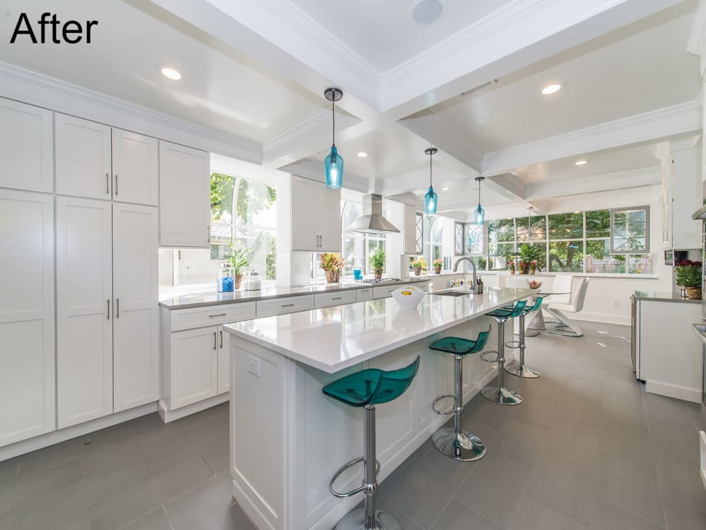 AFTER White Open Concept Kitchen Remodel in Short Hills by JMC Home Improvement Specialists
