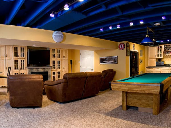 NY Giants Inspired Basement Remodel in New Jersey 1