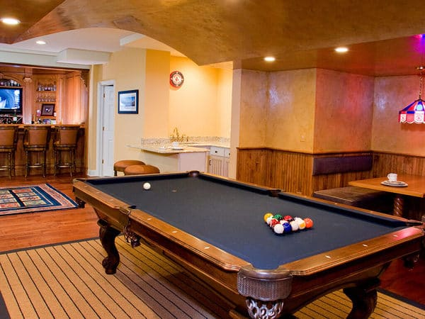 Pub Style Basement Remodel in New Jersey Hangout Area