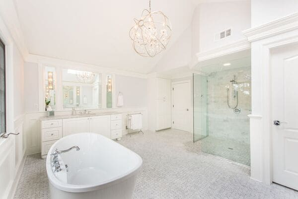 Luxurious White Bathroom Renovation in New Jersey with Free Standing Tub