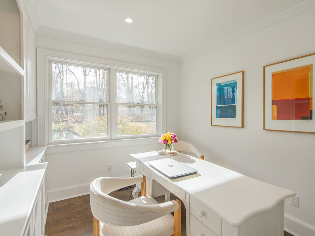 """White home office with 7"""" oak floors in Morris County, NJ renovated by JMC Home Improvement Specialists"""