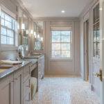 Elegant Bathroom with Dual Vanities, Walk-in Shower_Panel Effects