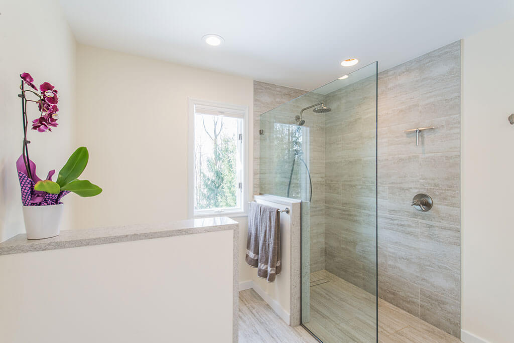 Master bathroom remodel with curbless, roll-in shower with frameless glass panel, Kohler hydro rail and  half wall by toilet in Chester, NJ renovated by JMC Home Improvement Specialists