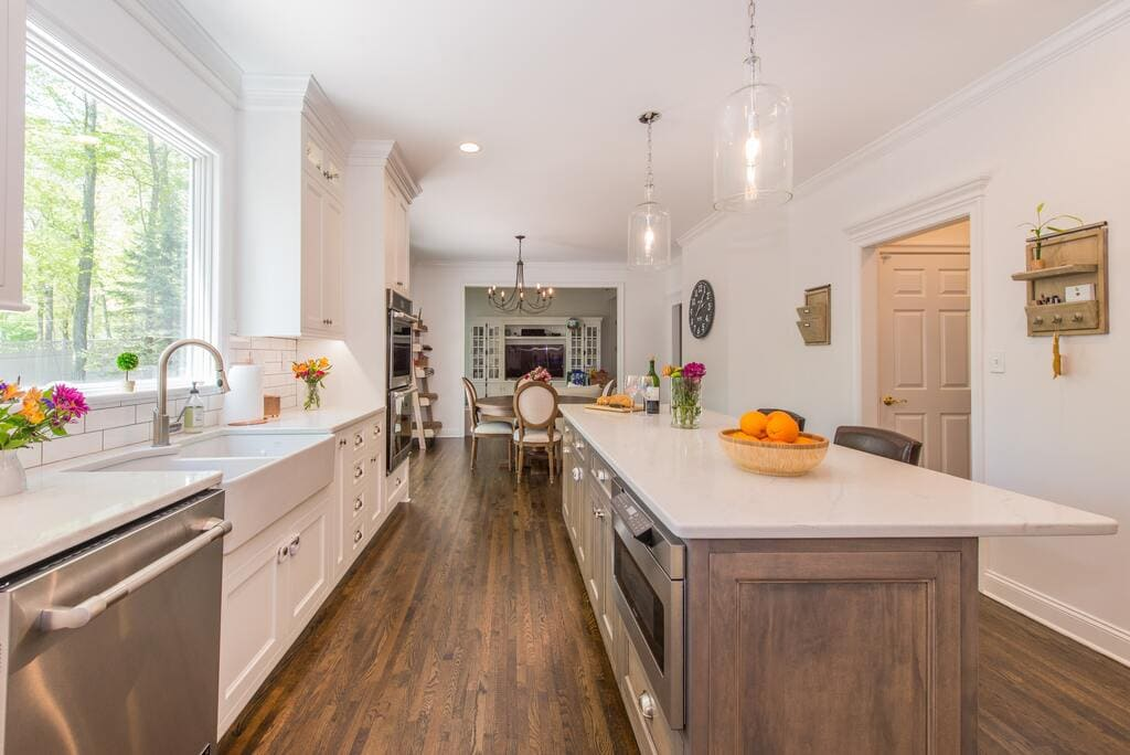 White Kitchen with Drift Wood Accent Island in Randolph